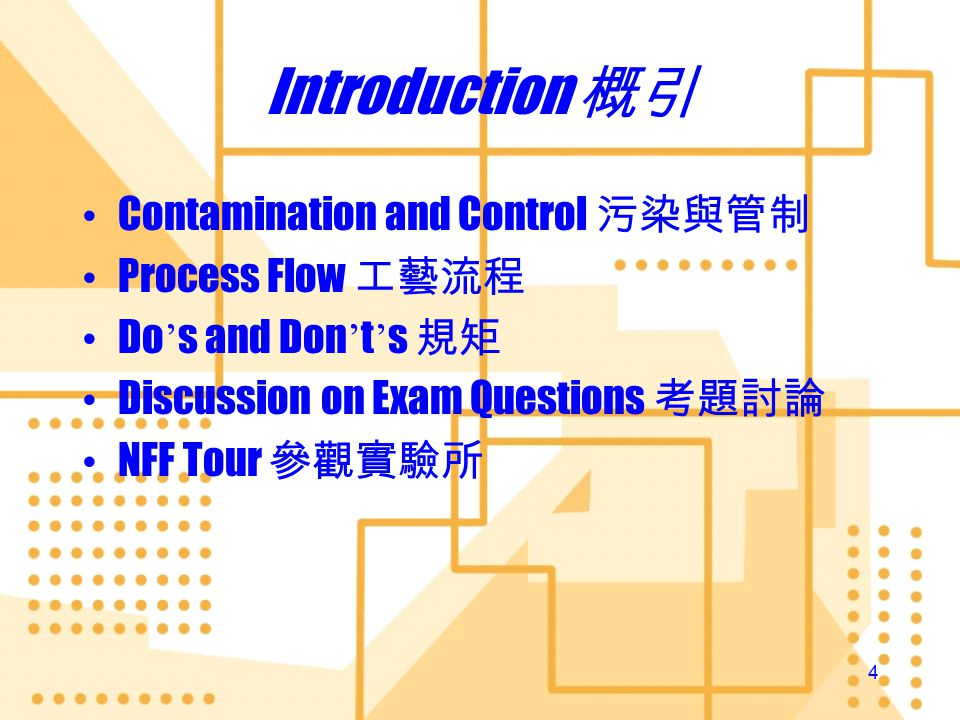 NFF Operation Training Introduction 概引 Introduction 概引