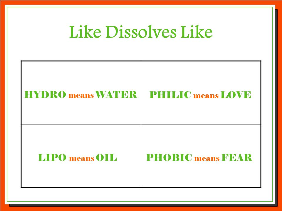 Put the parts together to define the terms below: Hydrophilic Hydrophobic Lipophilic Lipophobic = Water-Loving = Water-Fearing = Oil-Loving = Oil-Fearing