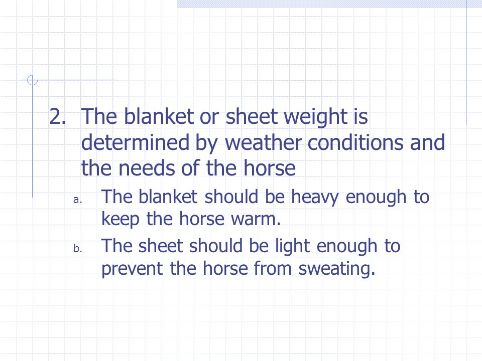 2.The blanket or sheet weight is determined by weather conditions and the needs of the horse a.