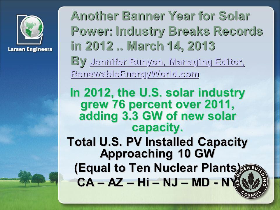 Another Banner Year for Solar Power: Industry Breaks Records in 2012..