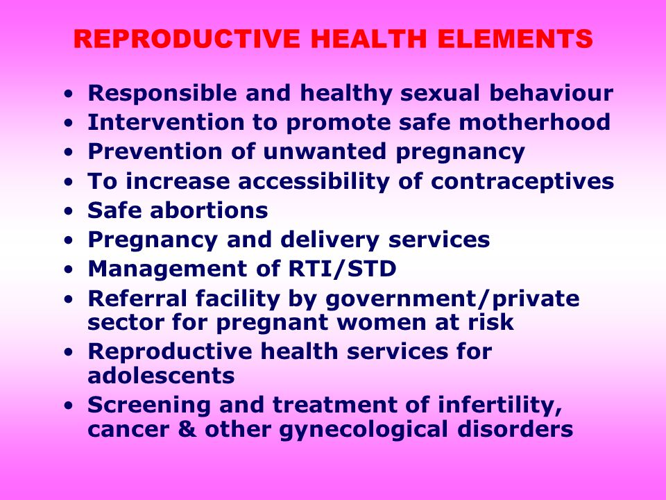REPRODUCTIVE HEALTH ELEMENTS Responsible and healthy sexual behaviour Intervention to promote safe motherhood Prevention of unwanted pregnancy To increase accessibility of contraceptives Safe abortions Pregnancy and delivery services Management of RTI/STD Referral facility by government/private sector for pregnant women at risk Reproductive health services for adolescents Screening and treatment of infertility, cancer & other gynecological disorders