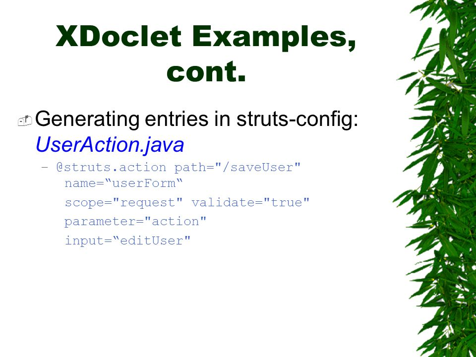 XDoclet Examples, cont.