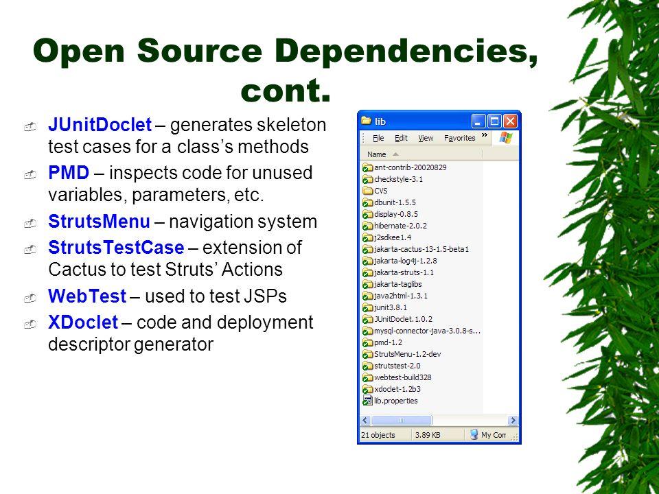 Open Source Dependencies, cont.