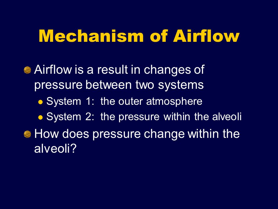 Mechanism of Airflow Airflow is a result in changes of pressure between two systems System 1: the outer atmosphere System 2: the pressure within the alveoli How does pressure change within the alveoli