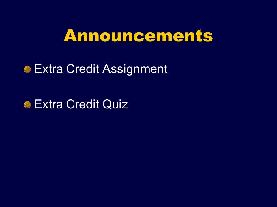 Announcements Extra Credit Assignment Extra Credit Quiz