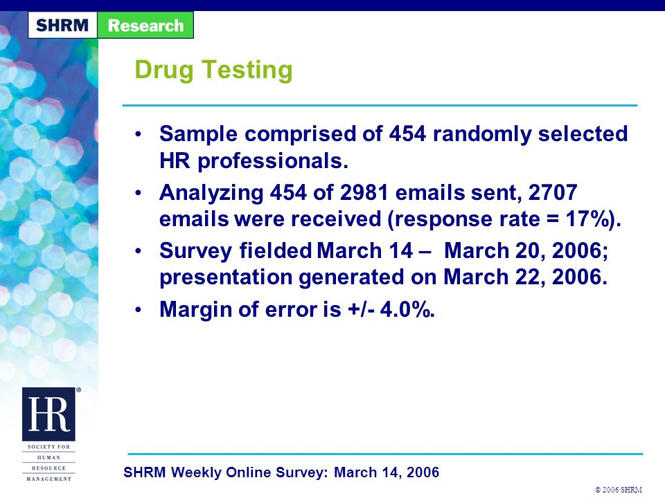 © 2006 SHRM SHRM Weekly Online Survey: March 14, 2006 Does your organization have a written policy that addresses drug testing?