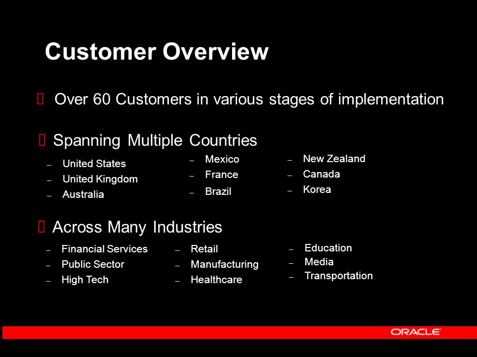 Customer Overview  Over 60 Customers in various stages of implementation  Across Many Industries – Retail – Manufacturing – Healthcare – Education – Media – Transportation – Financial Services – Public Sector – High Tech – Mexico – France – Brazil – United States – United Kingdom – Australia  Spanning Multiple Countries – New Zealand – Canada – Korea