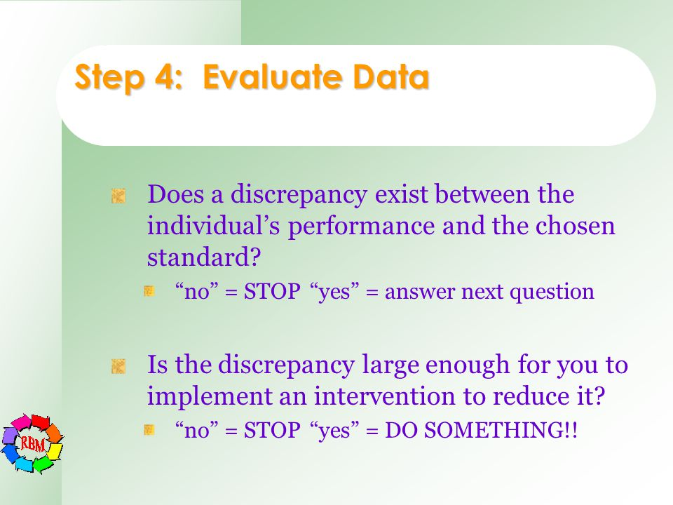 "Step 4: Evaluate Data Does a discrepancy exist between the individual's performance and the chosen standard? ""no"" = STOP""yes"" = answer next question I"