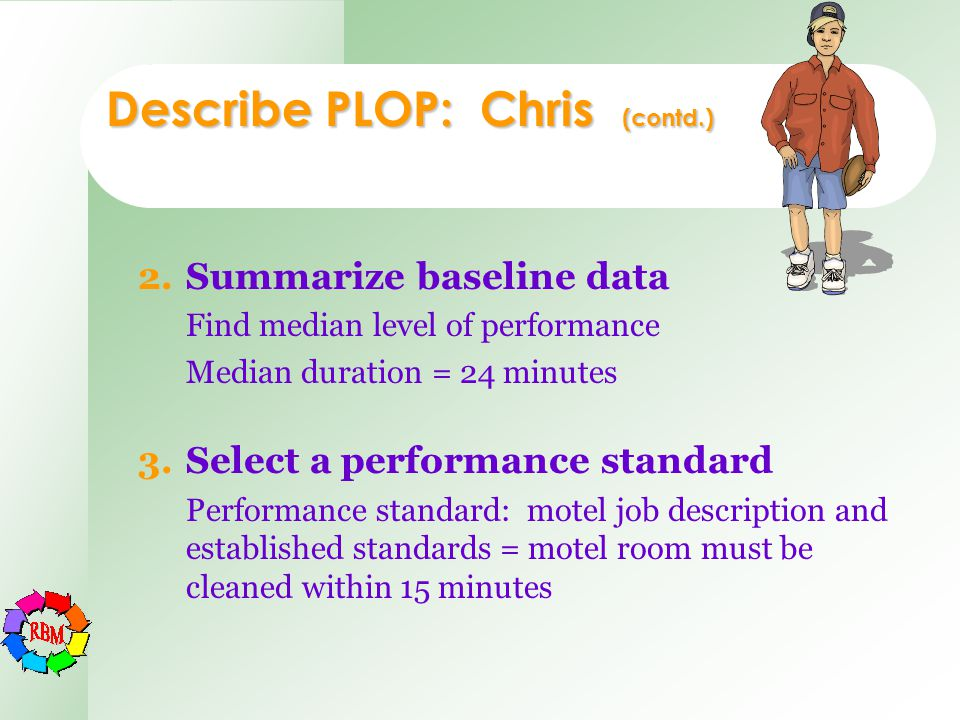Describe PLOP: Chris (contd.) 2.Summarize baseline data Find median level of performance Median duration = 24 minutes 3.Select a performance standard