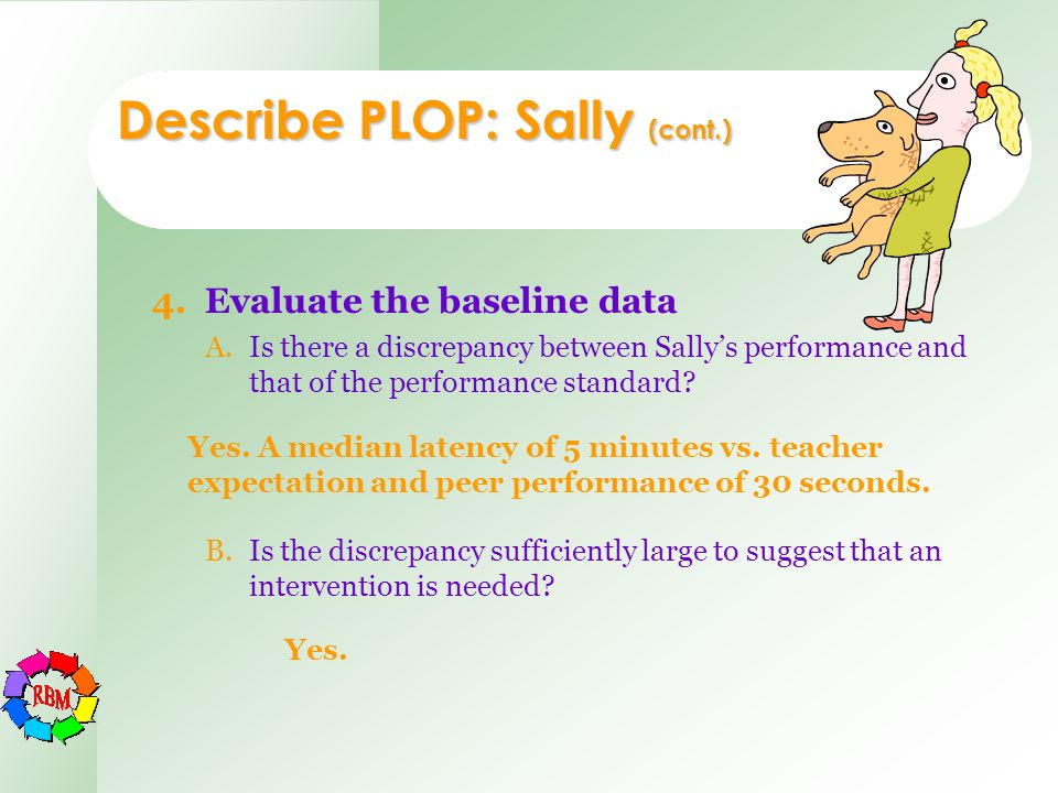 Describe PLOP: Sally (cont.) 4.Evaluate the baseline data A.Is there a discrepancy between Sally's performance and that of the performance standard? B