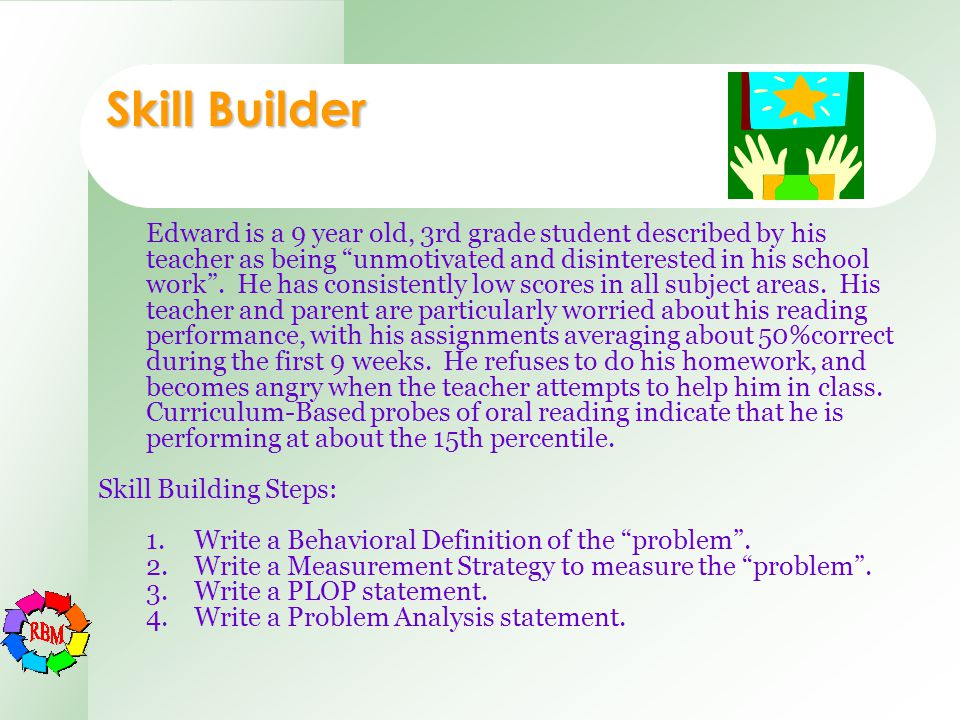 "Edward is a 9 year old, 3rd grade student described by his teacher as being ""unmotivated and disinterested in his school work"". He has consistently lo"