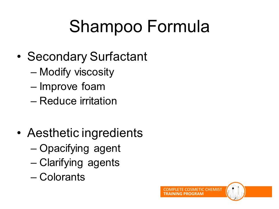 Shampoo Formula Secondary Surfactant –Modify viscosity –Improve foam –Reduce irritation Aesthetic ingredients –Opacifying agent –Clarifying agents –Co