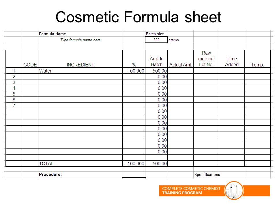 Cosmetic Formula sheet