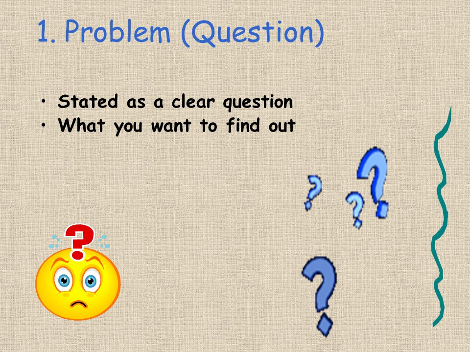 1. Problem (Question) Stated as a clear question What you want to find out
