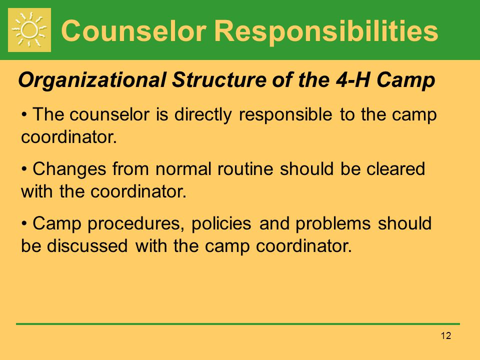 Counselor Responsibilities 12 The counselor is directly responsible to the camp coordinator.