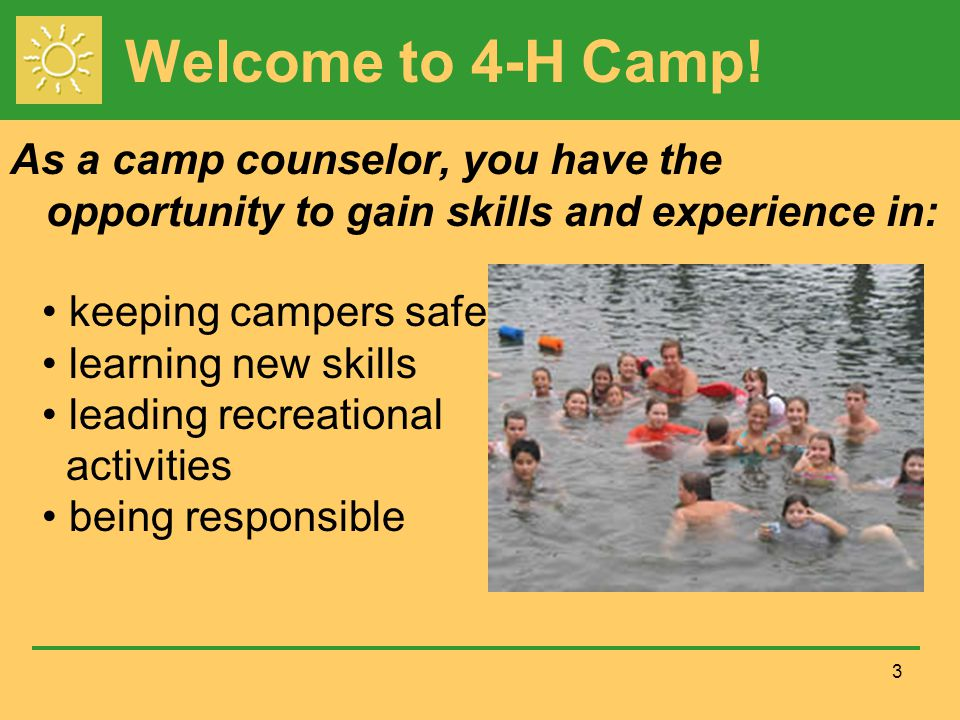 Welcome to 4-H Camp.