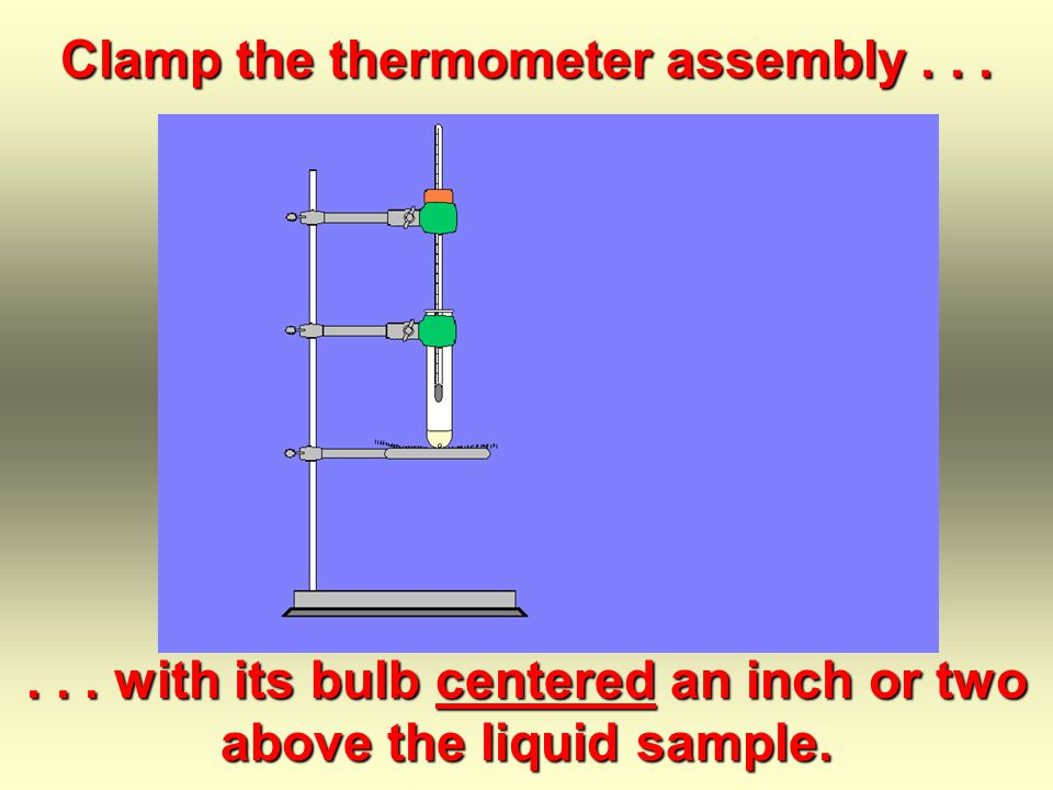Clamp a medium-size test tube on the hole; -- no air space! Add a milliliter or two of the sample... and one boiling stone.