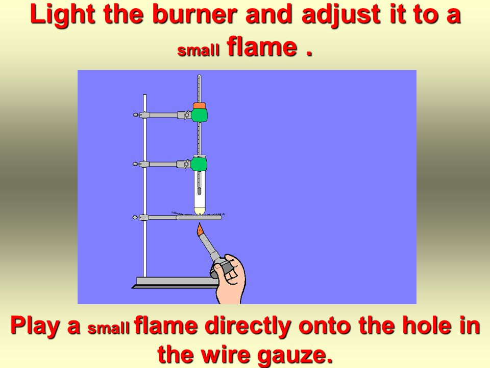 Clamp the thermometer assembly...... with its bulb centered an inch or two above the liquid sample.