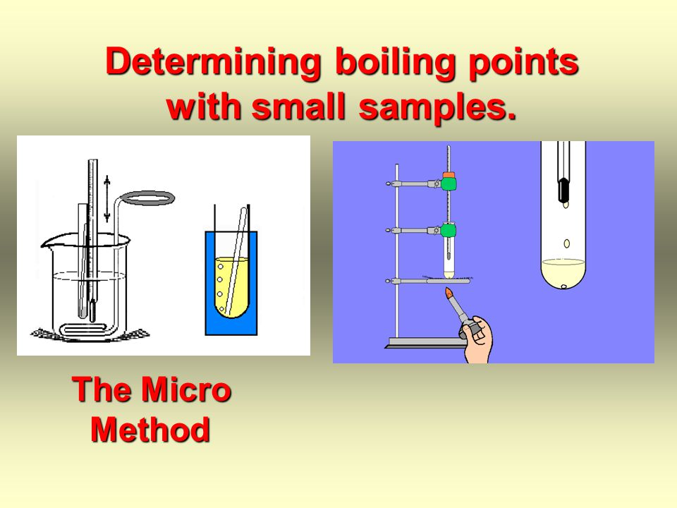 This segment is taking boiling points by the semi-micro method A milliliter or two of sample will be used in this method.