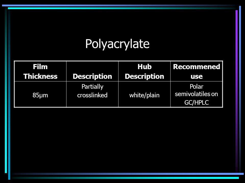 Polyacrylate Film ThicknessDescription Hub Description Recommened use 85μm Partially crosslinkedwhite/plain Polar semivolatiles on GC/HPLC