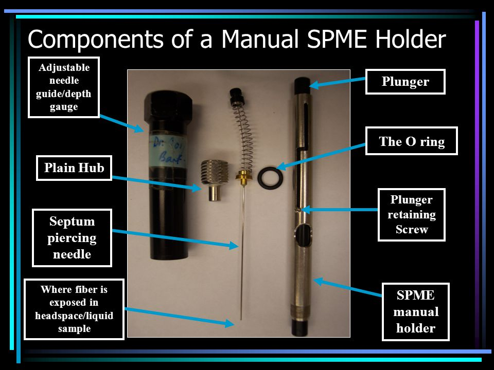 Components of a Manual SPME Holder Plain Hub The O ring Adjustable needle guide/depth gauge Plunger Plunger retaining Screw SPME manual holder Septum