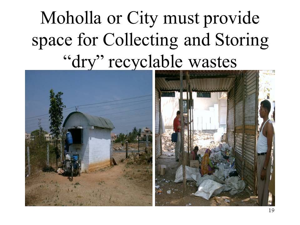 19 Moholla or City must provide space for Collecting and Storing dry recyclable wastes