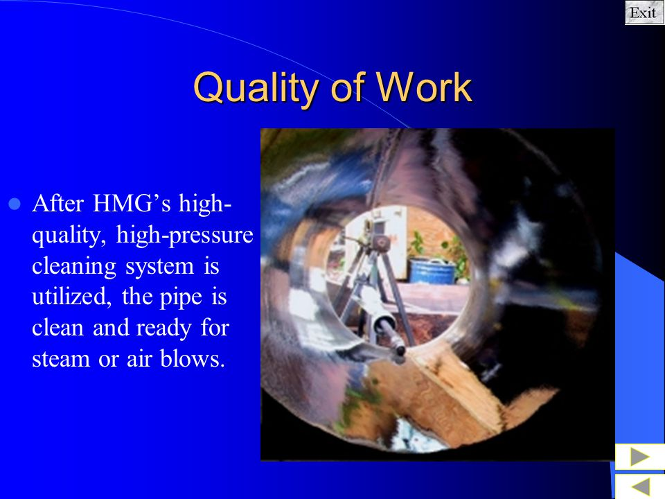 Quality of Work Sampling of mill-scale found in steam pipe prior to the hydro- milling cleaning process.