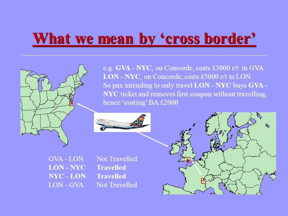 What we mean by 'cross border' GVA - LONNot Travelled LON - NYCTravelled NYC - LONTravelled LON - GVANot Travelled e.g. GVA - NYC, on Concorde, costs