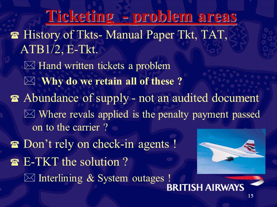 15 Ticketing - problem areas ( History of Tkts- Manual Paper Tkt, TAT, ATB1/2, E-Tkt.