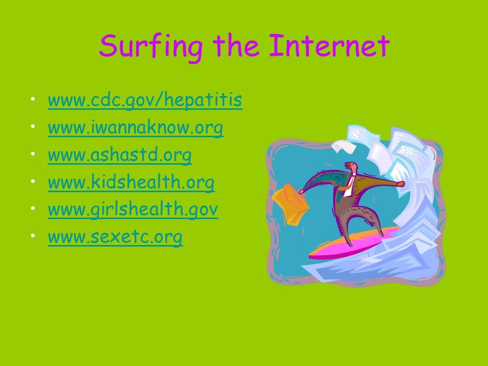 Surfing the Internet www.cdc.gov/hepatitis www.iwannaknow.org www.ashastd.org www.kidshealth.org www.girlshealth.gov www.sexetc.org