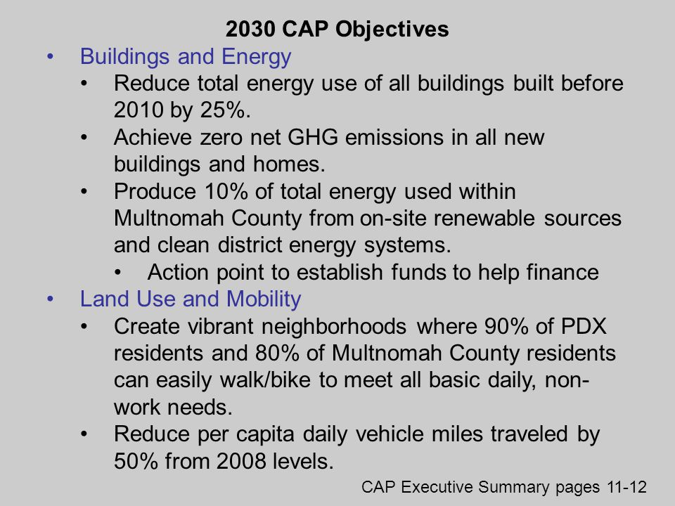 2030 CAP Objectives Buildings and Energy Reduce total energy use of all buildings built before 2010 by 25%.