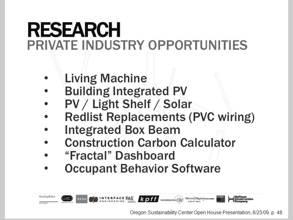 Oregon Sustainability Center Open House Presentation, 6/25/09, p. 48.