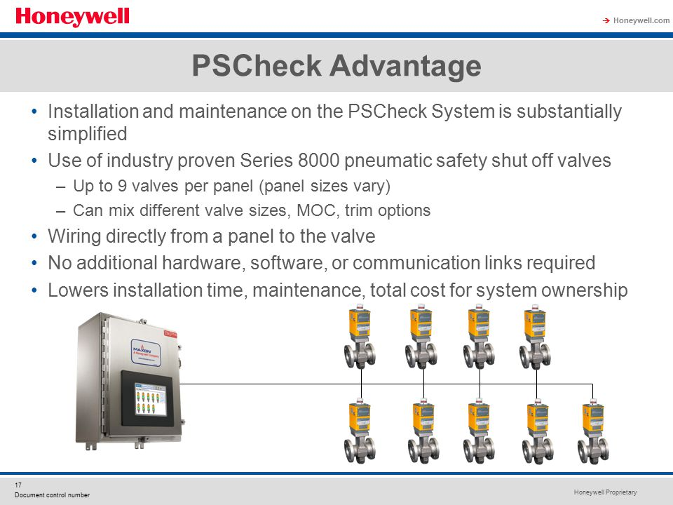 Honeywell Proprietary Honeywell.com  17 Document control number PSCheck Advantage Installation and maintenance on the PSCheck System is substantially