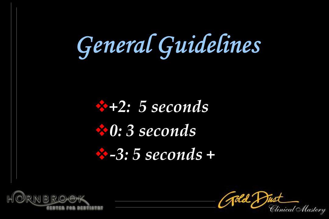 General Guidelines  +2: 5 seconds  0: 3 seconds  -3: 5 seconds +  +2: 5 seconds  0: 3 seconds  -3: 5 seconds +