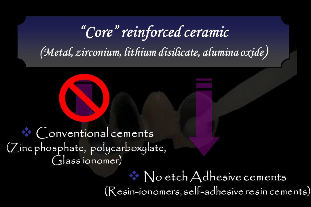 """Core"" reinforced ceramic ( Metal, zirconium, lithium disilicate, alumina oxide ) ""Core"" reinforced ceramic ( Metal, zirconium, lithium disilicate, al"