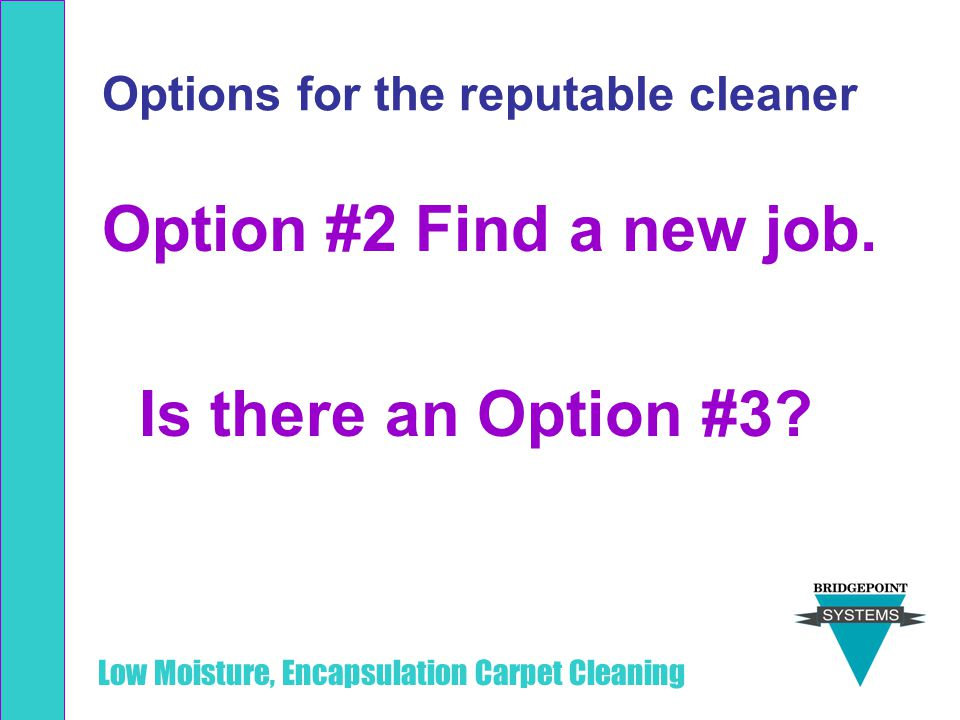 Low Moisture, Encapsulation Carpet Cleaning Options for the reputable cleaner Option #2 Find a new job. Is there an Option #3?