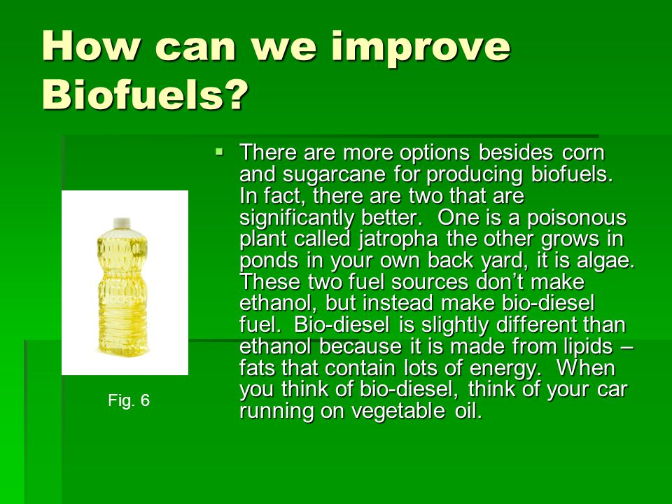 How can we improve Biofuels.