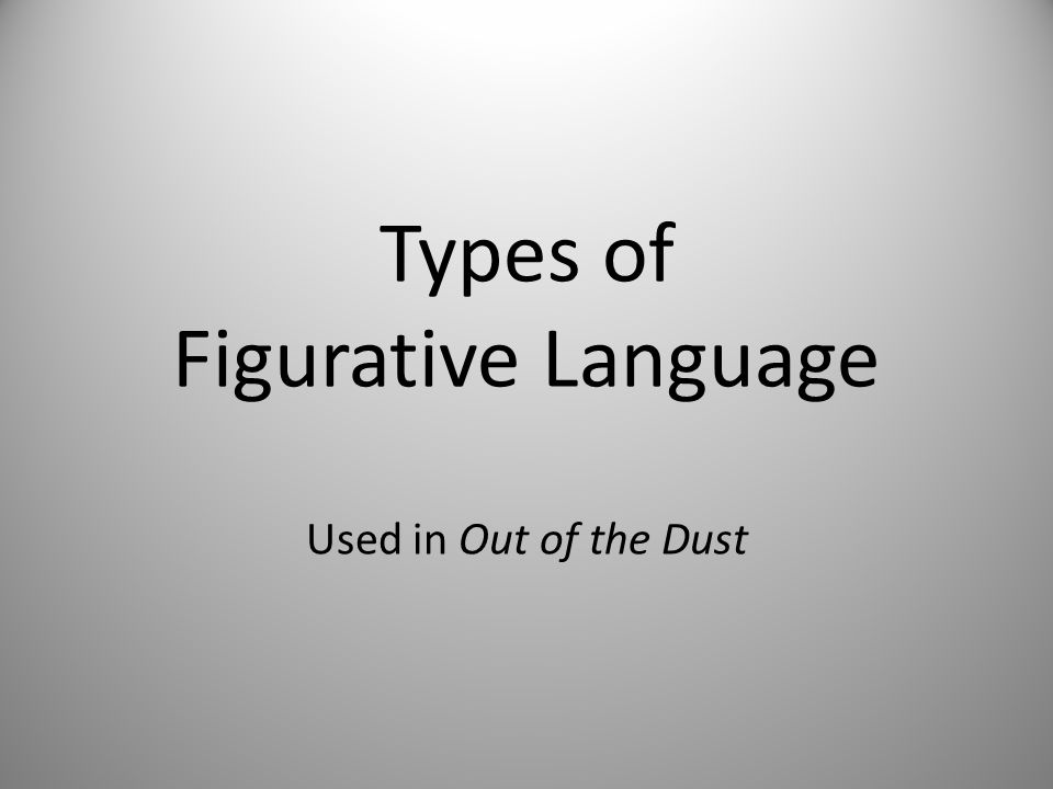 Types of Figurative Language Used in Out of the Dust