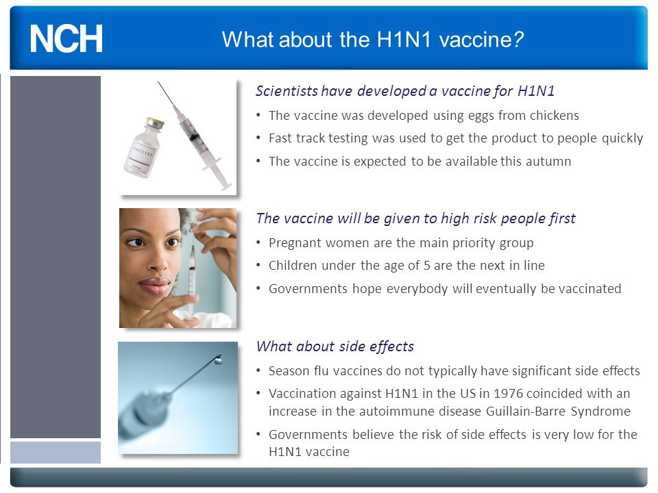 What about the H1N1 vaccine? Scientists have developed a vaccine for H1N1 The vaccine was developed using eggs from chickens Fast track testing was us