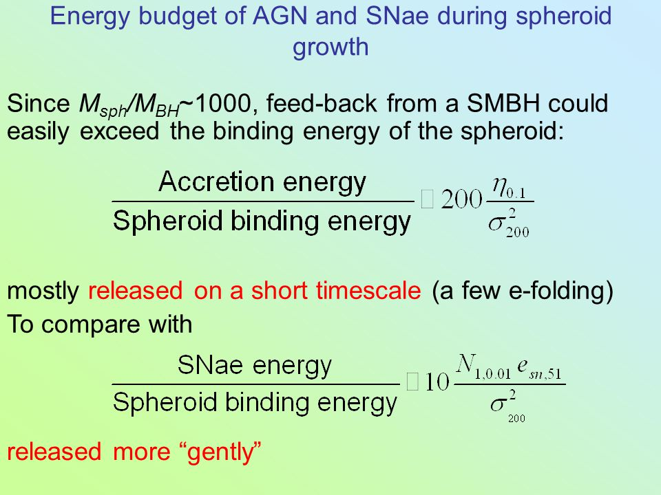 Since M sph /M BH ~1000, feed-back from a SMBH could easily exceed the binding energy of the spheroid: Energy budget of AGN and SNae during spheroid g