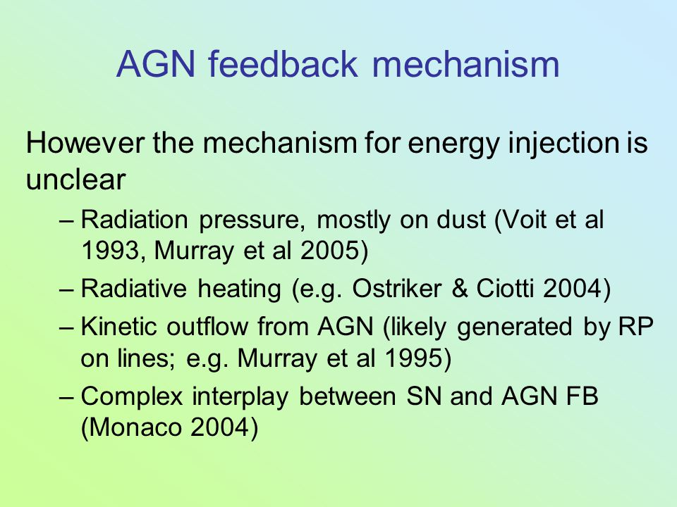 AGN feedback mechanism However the mechanism for energy injection is unclear –Radiation pressure, mostly on dust (Voit et al 1993, Murray et al 2005)