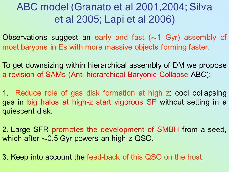 ABC model (Granato et al 2001,2004; Silva et al 2005; Lapi et al 2006) Observations suggest an early and fast ( » 1 Gyr) assembly of most baryons in E