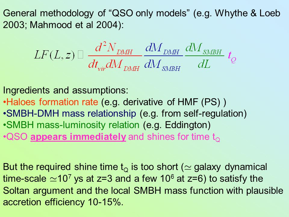 """General methodology of """"QSO only models"""" (e.g. Whythe & Loeb 2003; Mahmood et al 2004): Ingredients and assumptions: Haloes formation rate (e.g. deriv"""