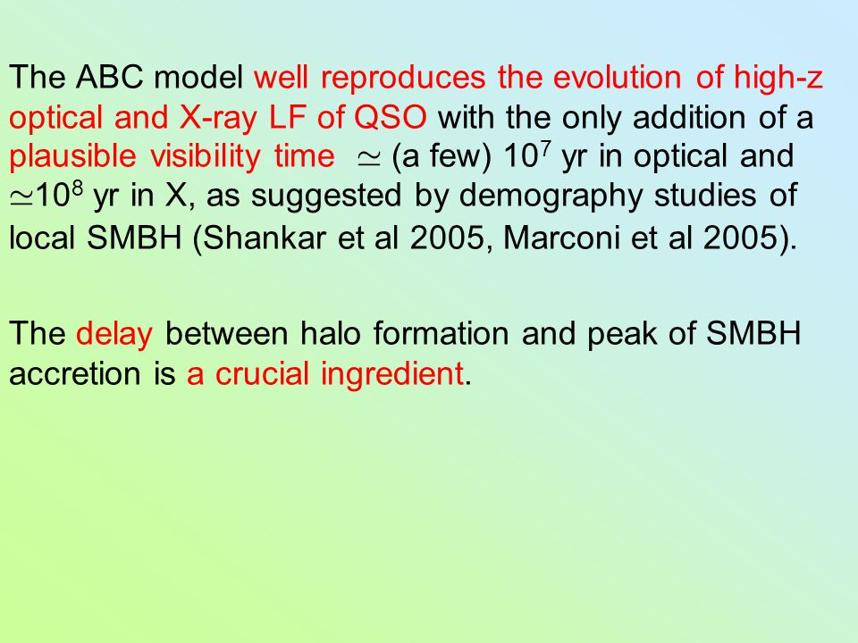The ABC model well reproduces the evolution of high-z optical and X-ray LF of QSO with the only addition of a plausible visibility time ' (a few) 10 7
