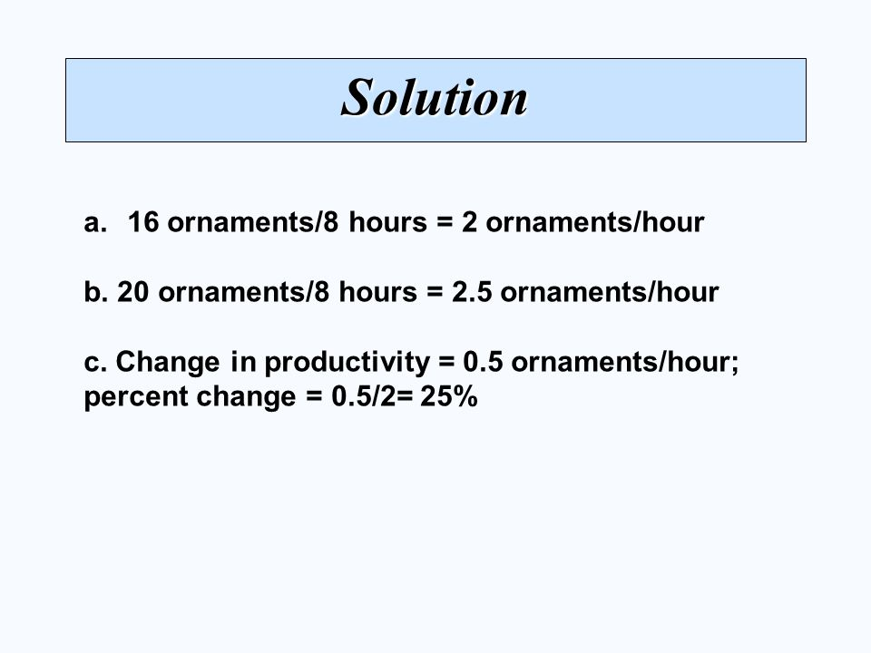 Solution a.16 ornaments/8 hours = 2 ornaments/hour b.
