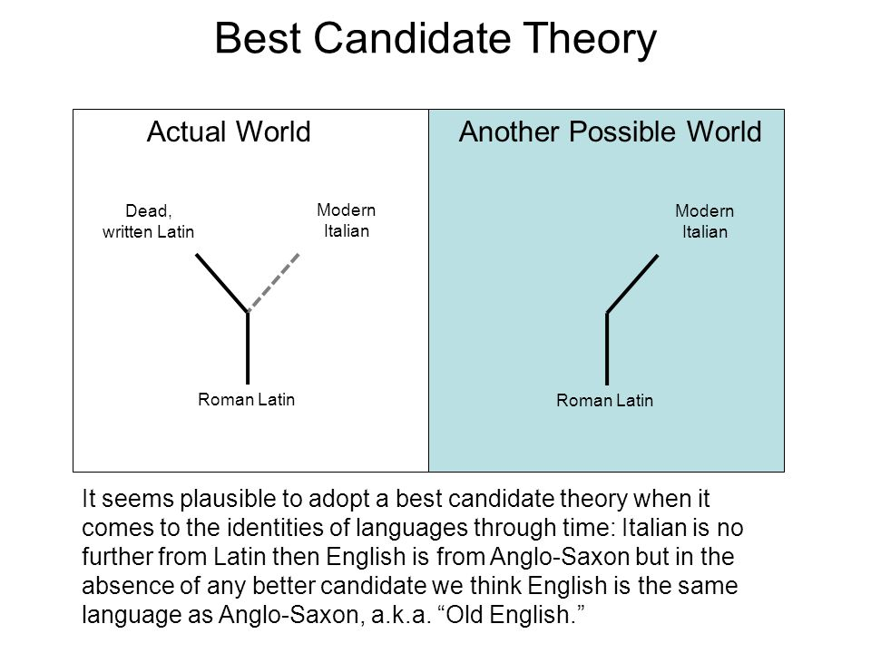 Best Candidate Theory Actual WorldAnother Possible World It seems plausible to adopt a best candidate theory when it comes to the identities of languages through time: Italian is no further from Latin then English is from Anglo-Saxon but in the absence of any better candidate we think English is the same language as Anglo-Saxon, a.k.a.