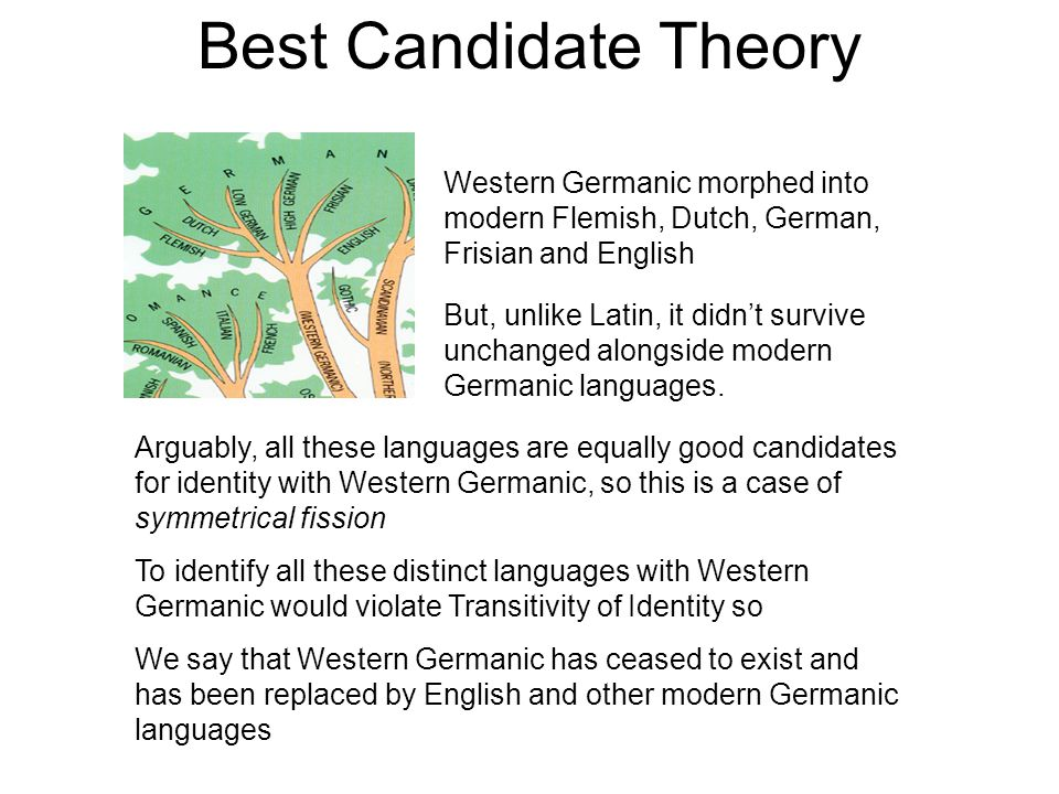 Best Candidate Theory Western Germanic morphed into modern Flemish, Dutch, German, Frisian and English But, unlike Latin, it didn't survive unchanged alongside modern Germanic languages.