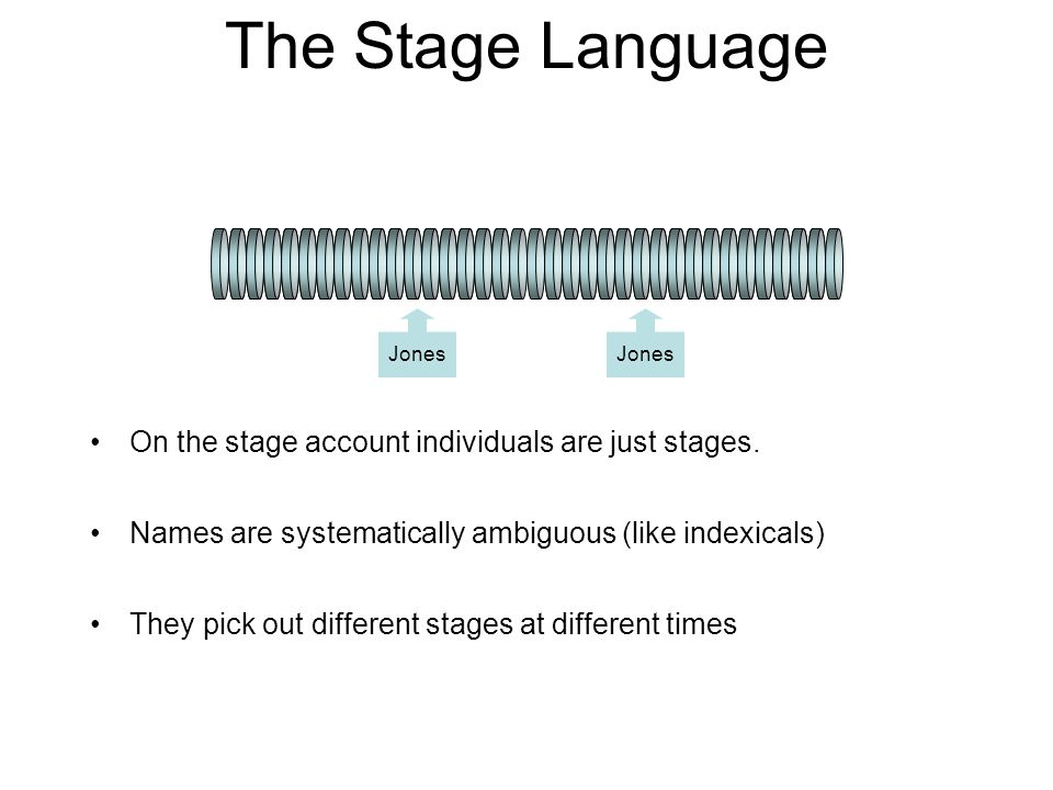 The Stage Language On the stage account individuals are just stages.