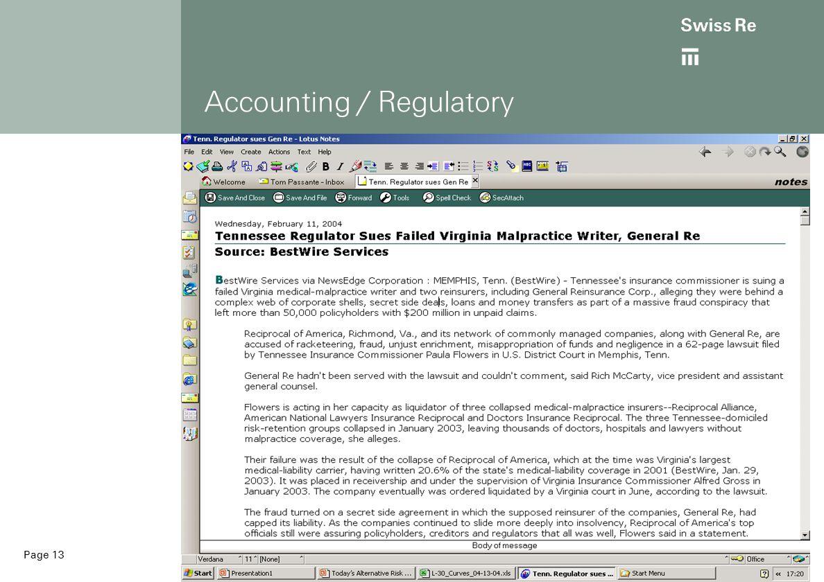 Page 13 Accounting / Regulatory