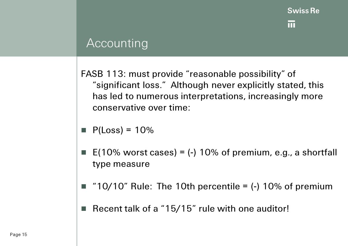Page 15 Accounting FASB 113: must provide reasonable possibility of significant loss. Although never explicitly stated, this has led to numerous interpretations, increasingly more conservative over time: P(Loss) = 10% E(10% worst cases) = (-) 10% of premium, e.g., a shortfall type measure 10/10 Rule: The 10th percentile = (-) 10% of premium Recent talk of a 15/15 rule with one auditor!